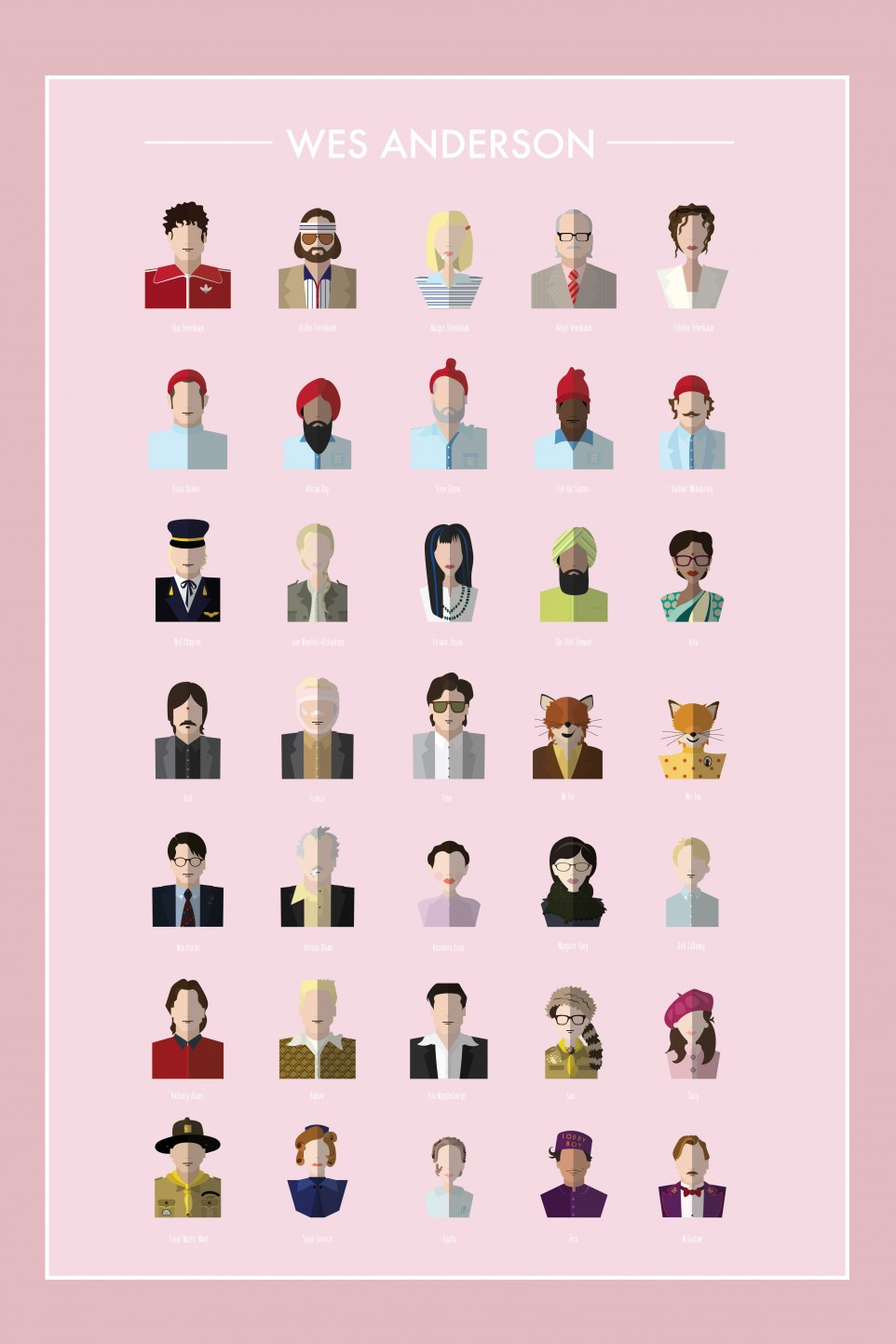 Full Character Set, Wes Anderson Vector Poster